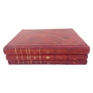 1920s Illustrative Leather Books - Set of 3