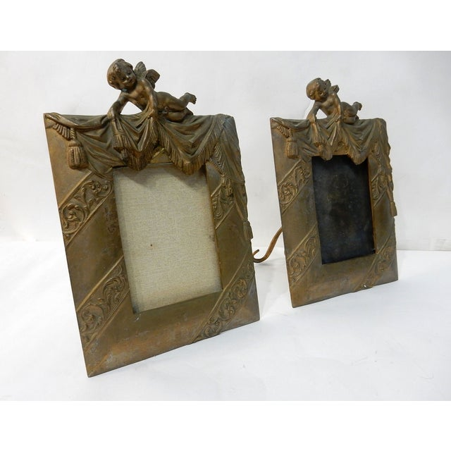 Antique Bronze Cherub Picture Frames - a Pair - Image 7 of 7