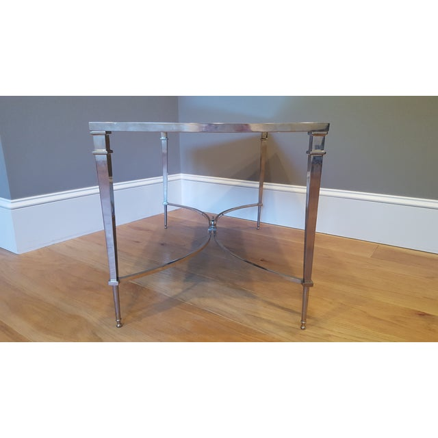 Image of French Nickel & Mirror Square Leg Coffee Table