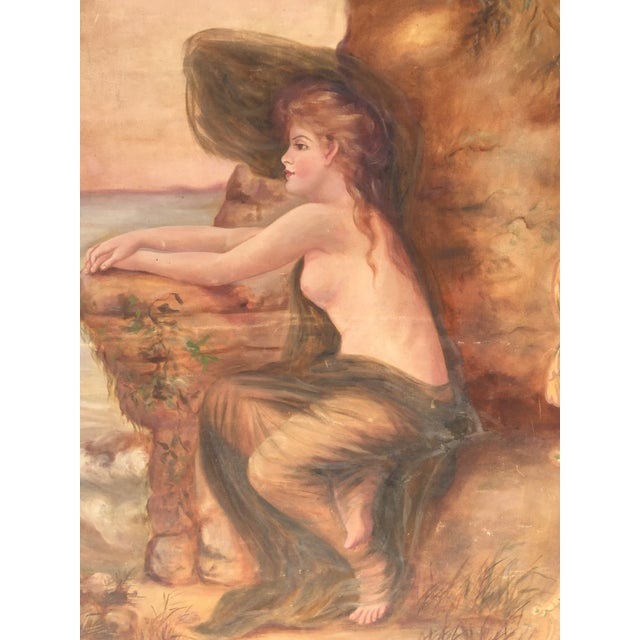 Antique Nude by the Sea Original Painting - Image 3 of 6