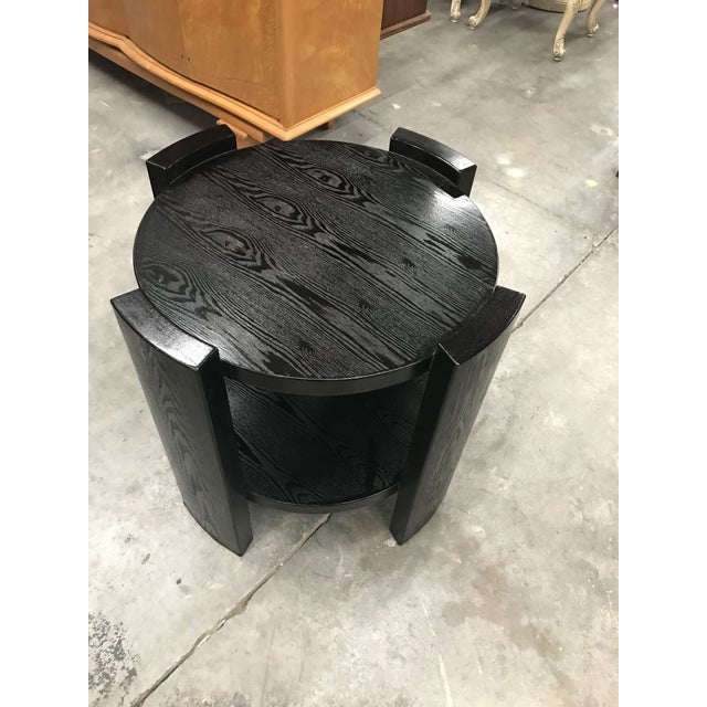 Monumental French Art Deco Solid Ebonized Cerused Oak Coffee Table Circa 1940s. - Image 10 of 11