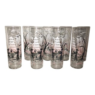 "Vintage Libbey Asian ""Collins"" Glasses- Set of 8"