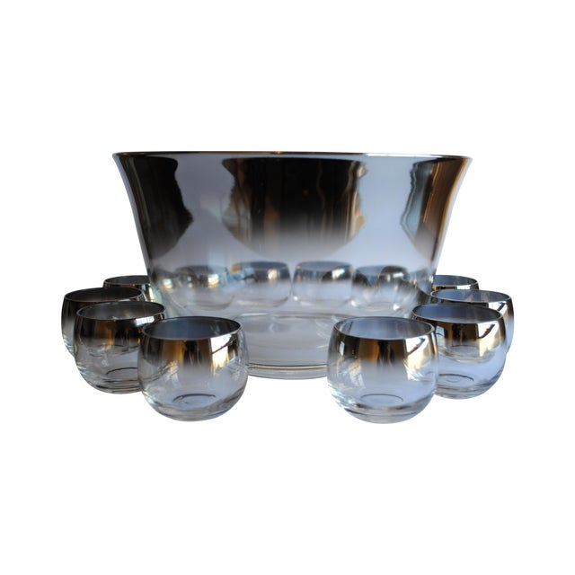 Image of Mid Century Silver Fade Punch Bowl & Glasses
