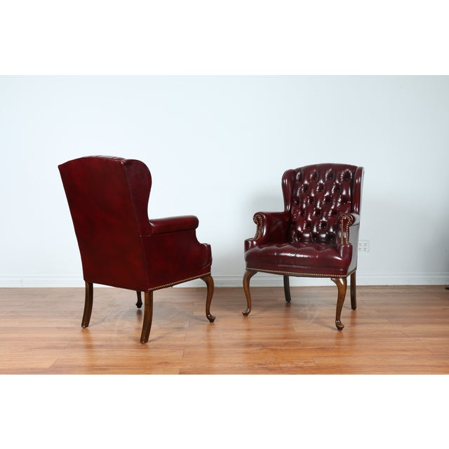 Schaffer Bros Burgundy Leather Chairs - A Pair - Image 2 of 11
