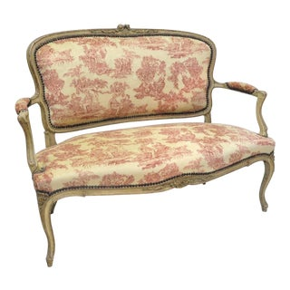 19th Century French Louis XV Carved Painted Settee