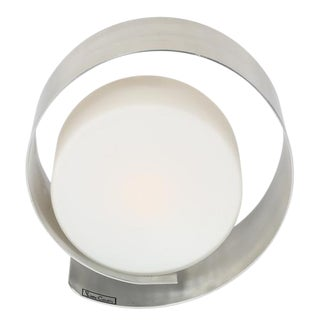 PIERRE CARDIN BRUSHED-ALUMINUM AND FROSTED-GLASS TABLE LAMP