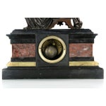 Image of Traditional J.E. Caldwell Mantel Clock With Bronze Sculpture of a Cartographer