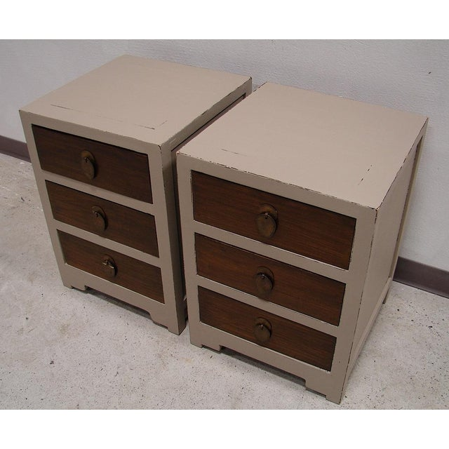 Teak Painted Night Stand Accent Table Set - Image 5 of 5