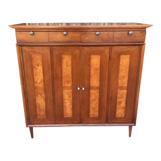 Burlwood Detail Mid-Century Highboy