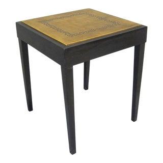 Vintage Sarreid LTD Square Leather Top Side Table