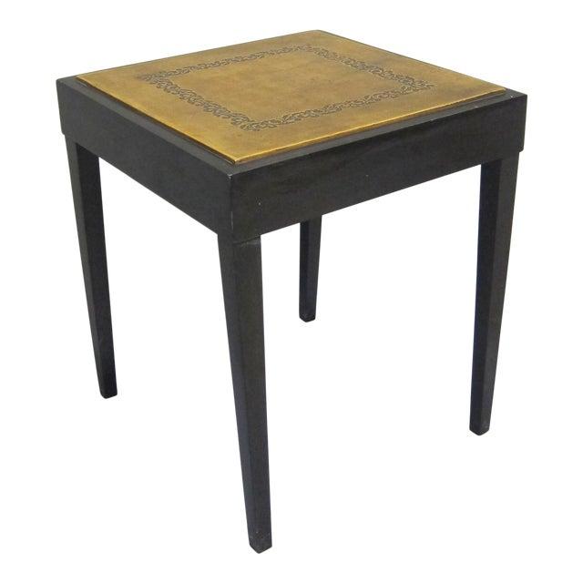 Vintage Sarreid LTD Square Leather Top Side Table - Image 1 of 5