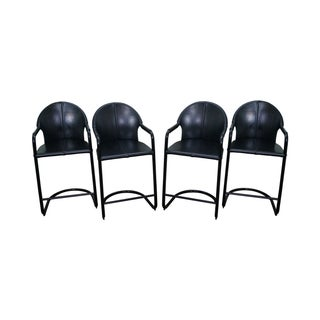 Italian High Grade Black Leather Counter Stools - Set of 4