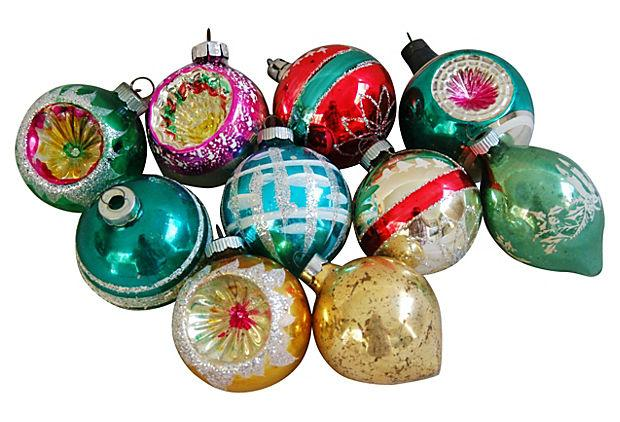 Retro Mid-Century Christmas Ornaments - Set of 10
