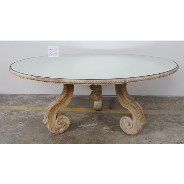 Italian carved wood coffee table w mirrored top chairish for Mirror and wood coffee table