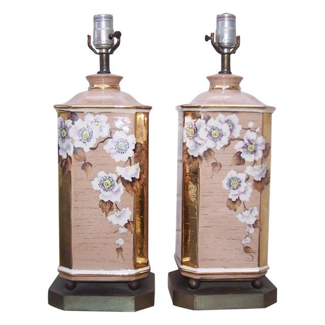 1950s Art Deco Style Ceramic Lamps - Pair - Image 1 of 8