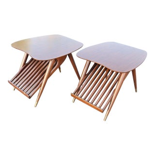 Danish Modern Magazine Rack Side Tables - A Pair