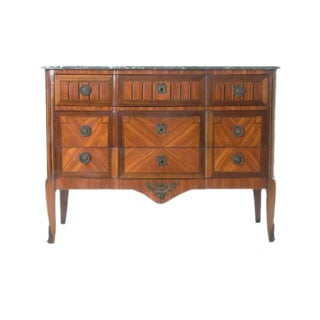 French 19th Century Marble Top & Wood Inlay Commode