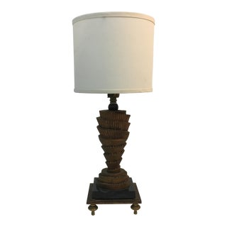 Decorative Spiral Brass & Marble Table Lamp