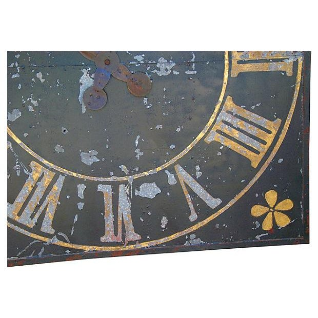 Large Antique French Iron & Gilt Tower Clock Face - Image 2 of 7