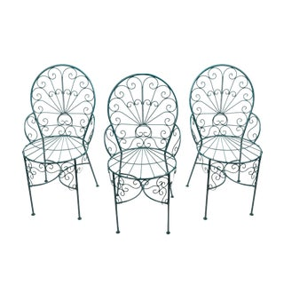 French Twisted Wire Peacock Chairs - Set of 3