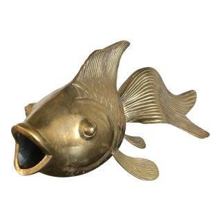 Huge Vintage Brass Koi Fish
