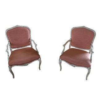 Lacquered Orange Silk Faux Bois Chairs - A Pair