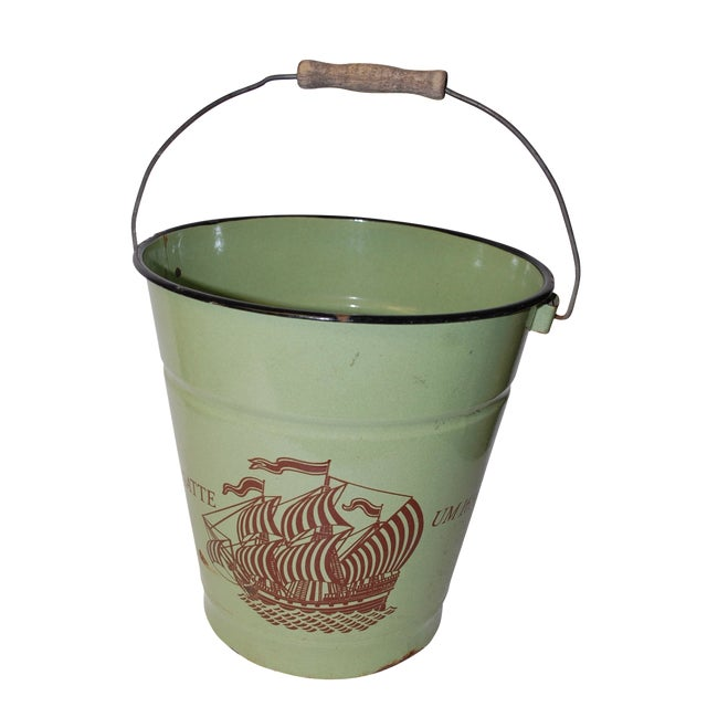 Antique European Enamel Bucket - Image 1 of 4