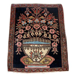 Boldly Designed Vase of Flowers Mohajeran Sarouk Mat c. 1900