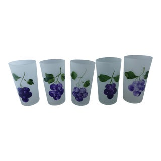 Frosted Juice Glasses With Grape Design - Set of 5