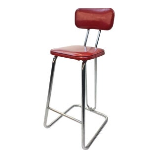 Mid Century Modern Red Vinyl Bar Stool