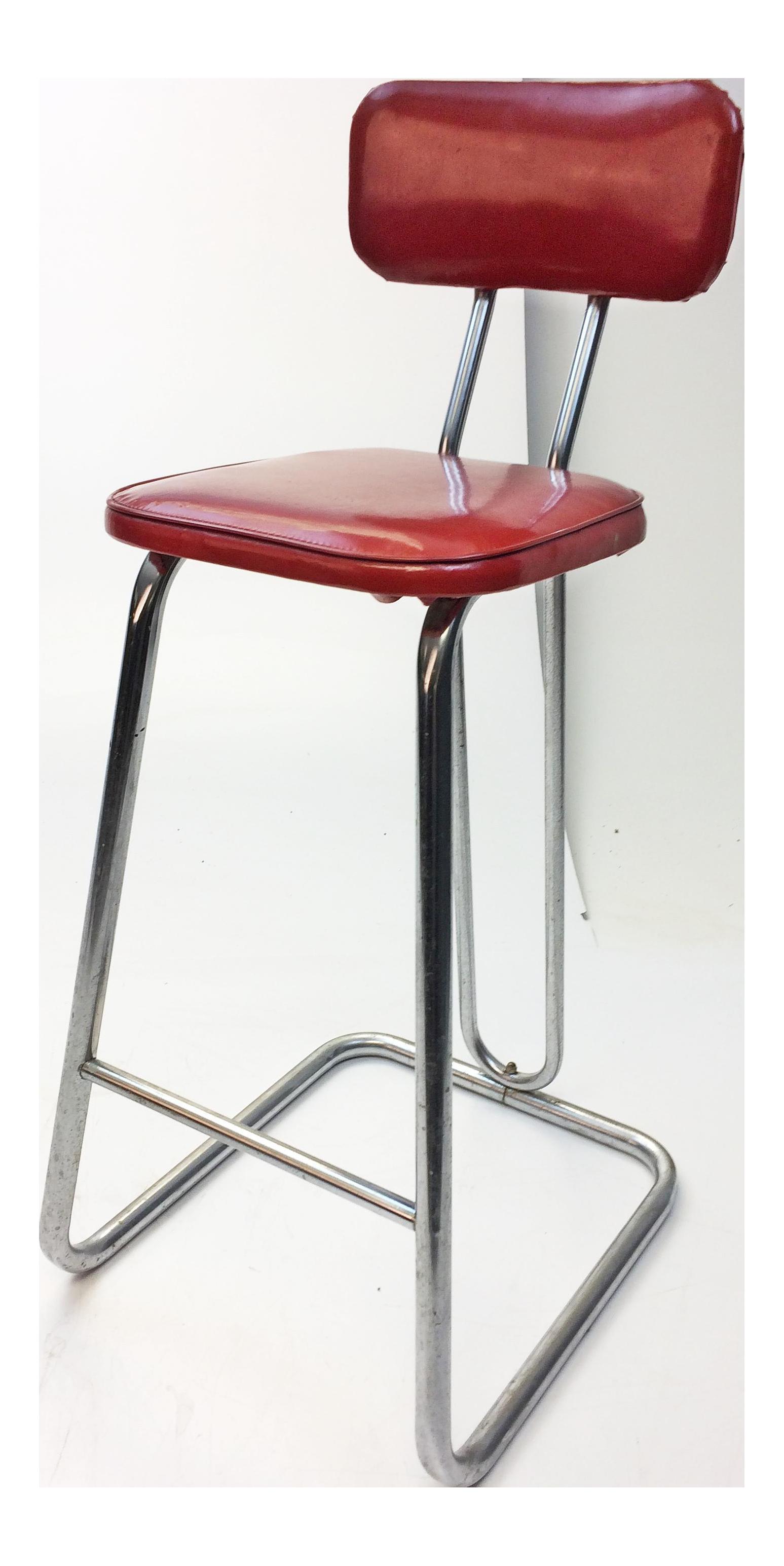 mid century modern red vinyl bar stool