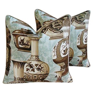 Custom Braemore Chinoiserie Vase Pillows - a Pair