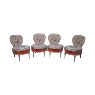 Hollywood Regency Vintage Set of 4 Paint Frame Club Lounge Chairs