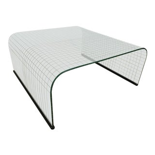 Waterfall Grid Pattern Glass Coffee Table
