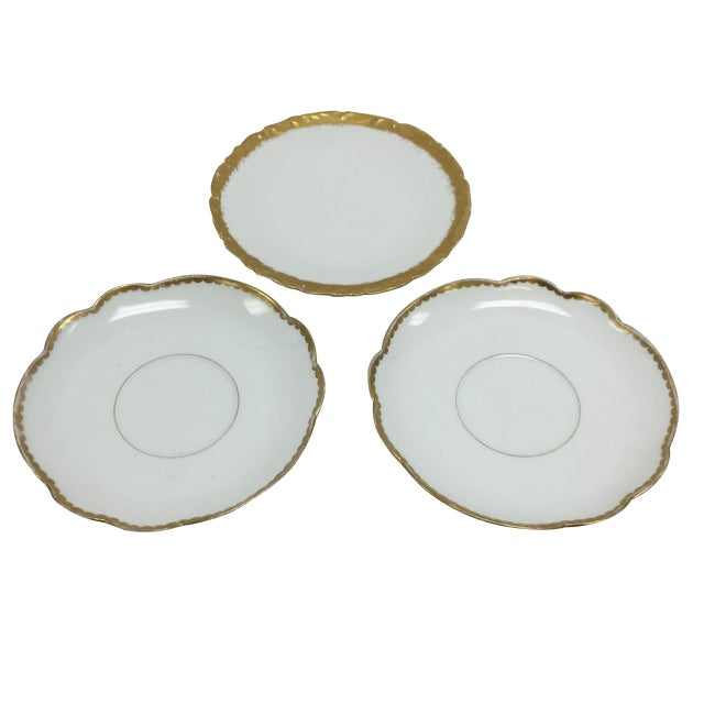 Image of Antique French Mismatched Limoges Saucers - 3