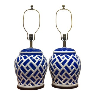 Frederick Cooper Blue & White Ginger Jar Lamps - A Pair
