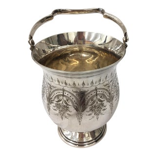 Antique Etched Silver Vase