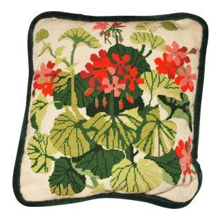 Vintage Geranium Needlepoint Pillow