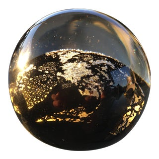 Vintage Toan Klein Signed Black & Gold Glass Paperweight