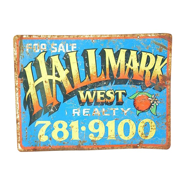 Image of Mid-Century Colorful Hallmark Realty Sign
