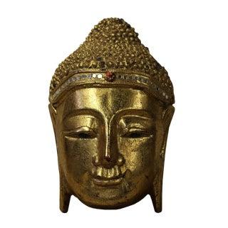 Handcrafted Painted Wood Serene Meditate Sakyamuni Buddha Face Sculpture