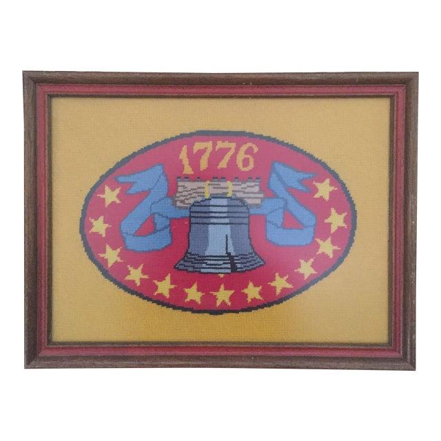 Vintage Americana Liberty Bell 1776 Framed Needlepoint Art - Image 1 of 6
