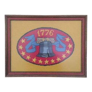 Vintage Americana Patriotic Liberty Bell 1776 Framed Needlepoint Art