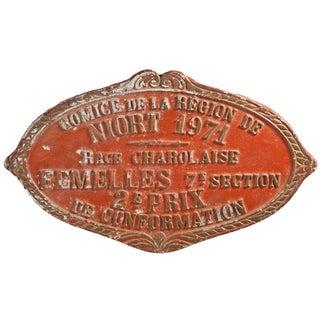 Vintage 1971 French Cast Aluminum Award Plaque