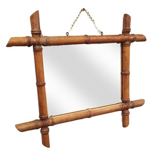 Antique French Bamboo Wood Framed Mirror