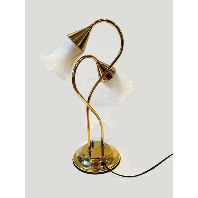 Vintage Brass Lotus Double Light Lamp - Image 3 of 7