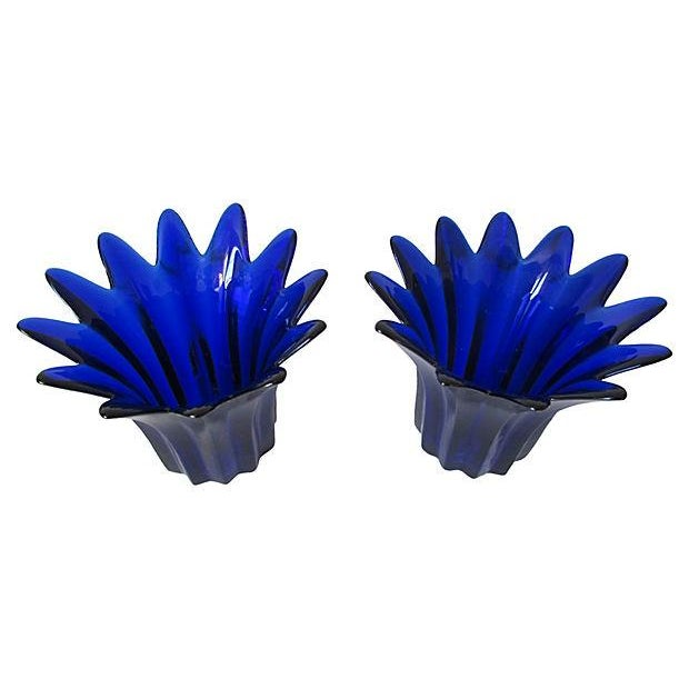 Vintage Cobalt Blue Candle Holders - A Pair - Image 3 of 5