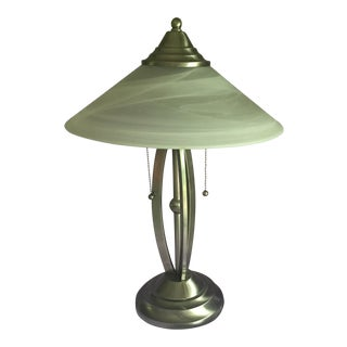 Contemporary Stainless Lamp & White Glass Shade