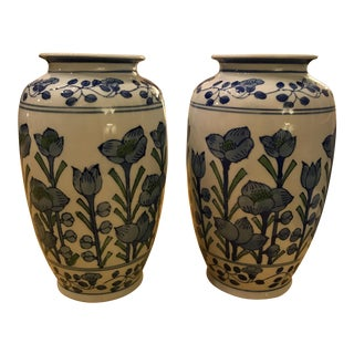 Blue & Green Floral Vases - A Pair