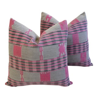Boho-Chic Mali Woven Tribal Feather/Down Pillows - A Pair